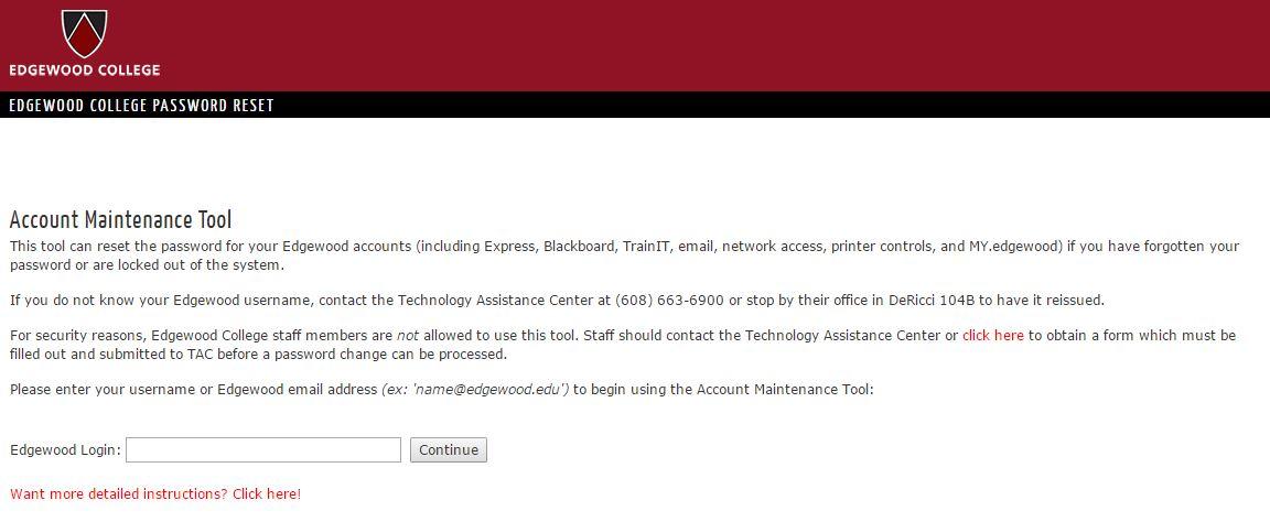 Edgewood College Password Reset User Guide